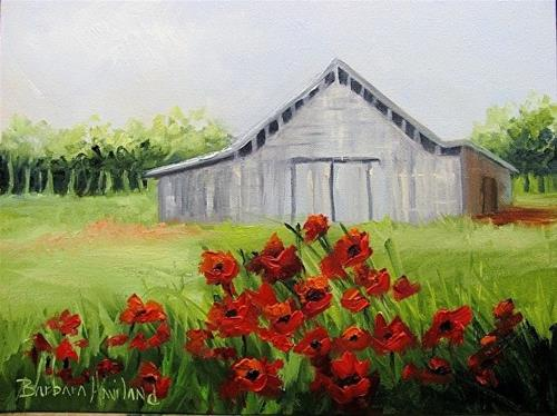 """Red Poppies and a Gray Tennessee Barn"" original fine art by Barbara Haviland"