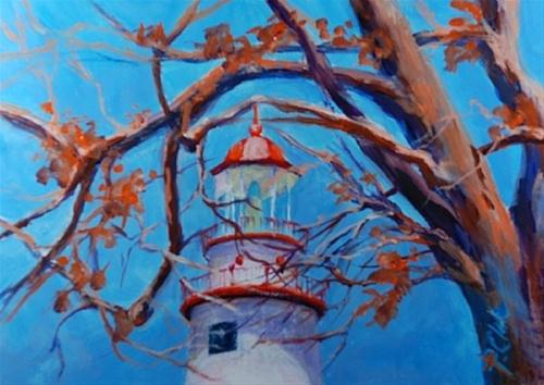 """Beacon of Light, a 5 x 7 inch Acrylic Landscape"" original fine art by Donna Pierce-Clark"
