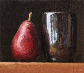 """Red Pear with Handmade Cup"" original fine art by Abbey Ryan"