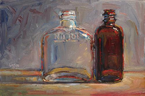 """Thrift Store Bottles"" original fine art by Raymond Logan"
