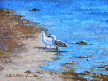 """'Gullfriends' An Original Oil Painting by Claire Beadon Carnell 30 Paintings in 30 Days Challenge Da"" original fine art by Claire Beadon Carnell"
