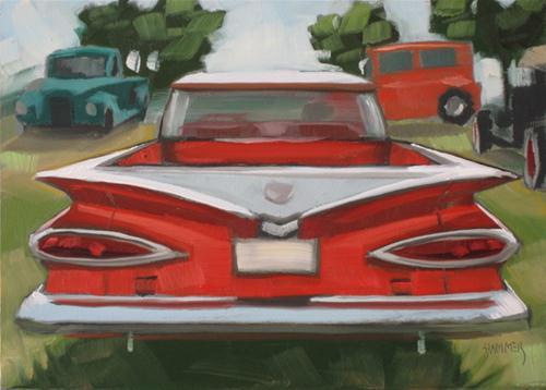 """""""1959 Chevy el Camino 5x7 oil"""" original fine art by Claudia Hammer"""