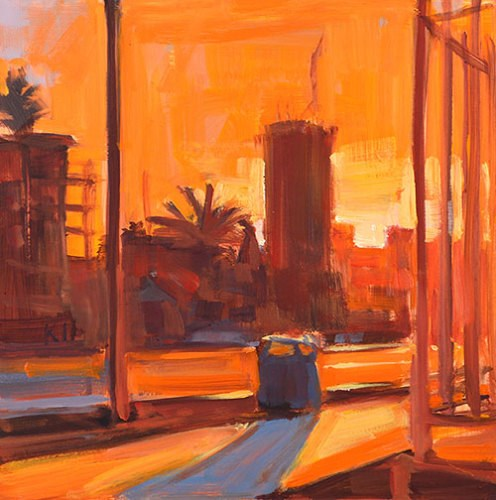 """Sunset, Downtown Skyline"" original fine art by Kevin Inman"