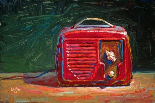 """Temple Superhet Radio Red"" original fine art by Raymond Logan"
