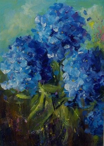 """Heavenly Blue Hydrangeas"" original fine art by Alice Harpel"