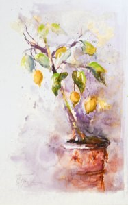 """Lemon tree- Zitronenbäumchen"" original fine art by Christa Friedl"