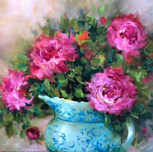 """A New Peony Video - Pink Pirouette Peonies, Step by Step - Nancy Medina Art"" original fine art by Nancy Medina"