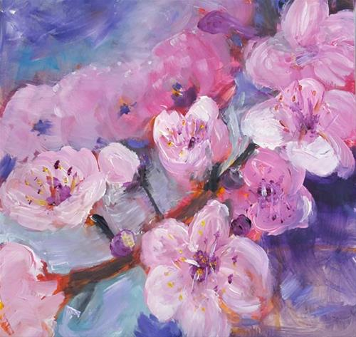 """Cherry Blossoms"" original fine art by Lou Belcher"