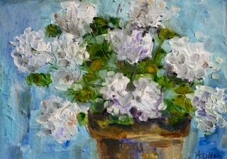 """White Geraniums"" original fine art by Maggie Flatley"