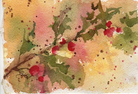"""Holly Berries"" original fine art by Sue Dion"