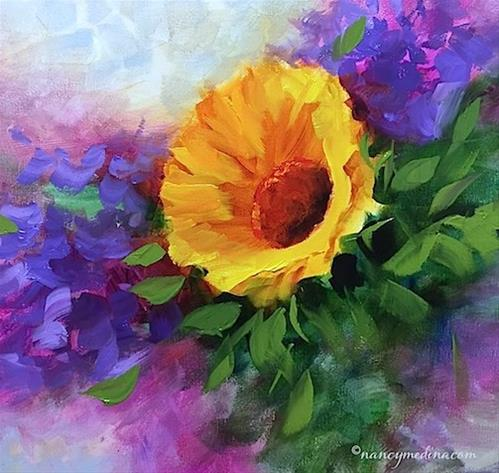 """Violet Fire Sunflower and a Louisiana Workshop - Flower Painting Classes and Workshops by Nancy Medi"" original fine art by Nancy Medina"