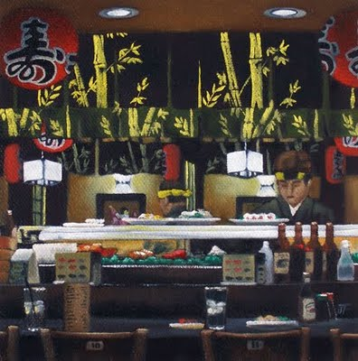 """Sushi Bar Study"" original fine art by Jelaine Faunce"
