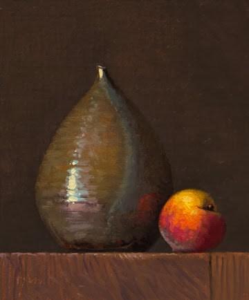 """Still life with Peach and Drop Vase    (+ Ending soon: Korean Bowl & Bird's Egg)"" original fine art by Abbey Ryan"