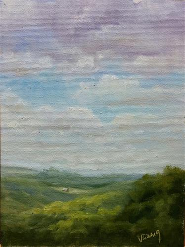"""A break in the clouds-en plein air"" original fine art by Veronica Brown"