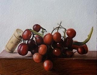 """""""Grapes & Cork"""" original fine art by Jonathan Aller"""