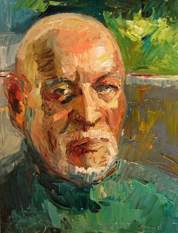 """Dad in Green Turtleneck"" original fine art by Carol Steinberg"