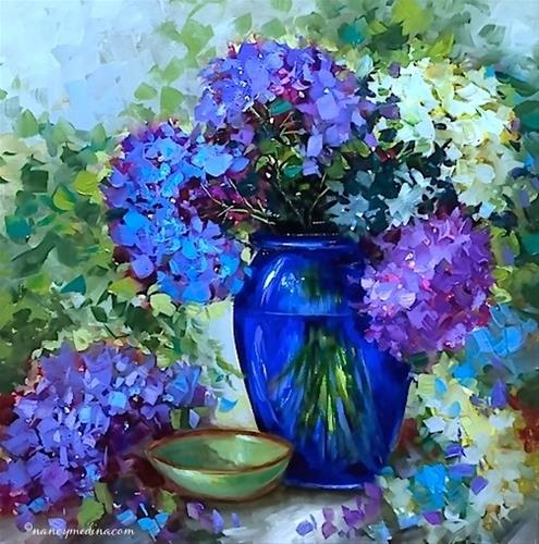 """Blue Heaven Hydrangeas and Tough Choices in the Garden - Flower Painting Classes and Workshops by Na"" original fine art by Nancy Medina"