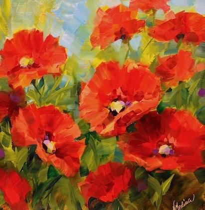 """Nodding Off Poppies by Texas Flower Artist Nancy Medina"" original fine art by Nancy Medina"