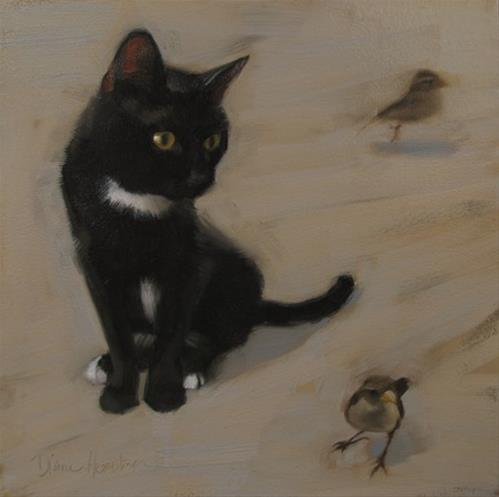 """The Meeting young black cat meets sparrows"" original fine art by Diane Hoeptner"