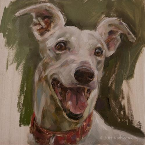 """Day 3 - Greyhound"" original fine art by Kathleen Coy"