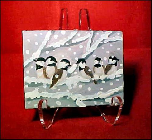 """""""Six Tiny Chickadees"""" original fine art by Patricia Ann Rizzo"""