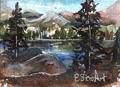 """ACEO Landscape Watercolor Mountain Trees Lake Mat 5x7 SFA PennyStewArt"" original fine art by Penny Lee StewArt"