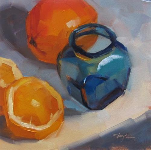 """Glass Jar and Oranges"" original fine art by Katia Kyte"