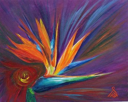 """1036 - Bird of Paradise - Gaia Energy"" original fine art by Sea Dean"