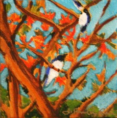 """Blue Birds, Orange Leaves"" original fine art by JoAnne Perez Robinson"