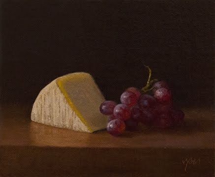 """Red Grapes with Tuscan Parmesan (Italy painting #1)"" original fine art by Abbey Ryan"