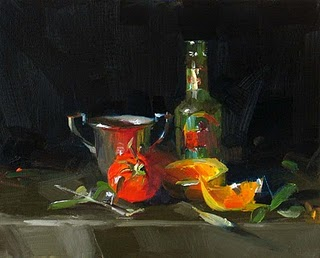 """A New Drink --- Sold"" original fine art by Qiang Huang"
