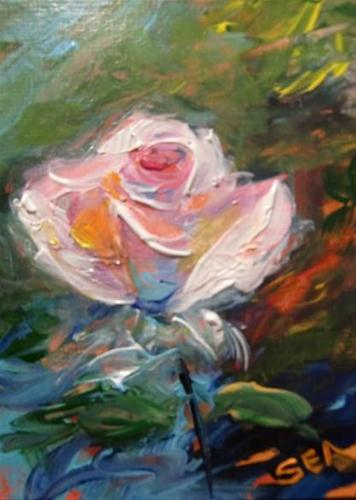"""3038 - PROMISE ROSE - ACEO Series"" original fine art by Sea Dean"