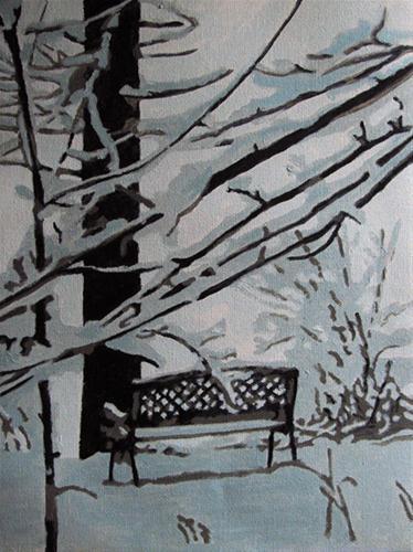 """Winter Bench"" original fine art by Nan Johnson"