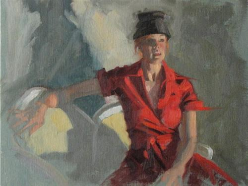"""Jen in red  12x9 oil"" original fine art by Claudia Hammer"