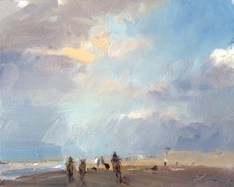 """Seascape winter 15 Towards the light - horses running (sold) zeegezicht met paarden"" original fine art by Roos Schuring"