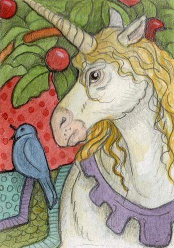 """Medieval Unicorn"" original fine art by Lisa Ferguson"