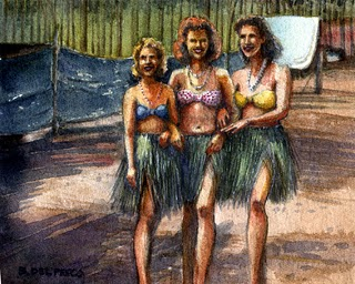 """Watercolor: Triple Hula"" original fine art by Belinda Del Pesco"