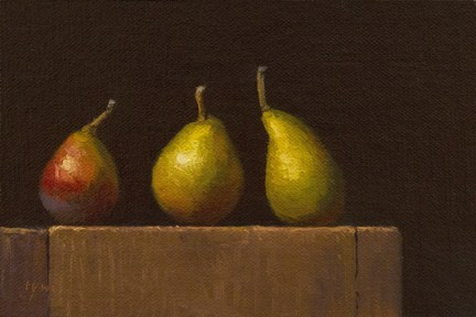 """Three Seckel Pears  (& big day coming up)"" original fine art by Abbey Ryan"