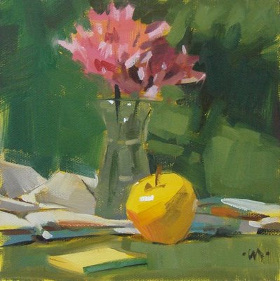 """Post It Apple"" original fine art by Carol Marine"