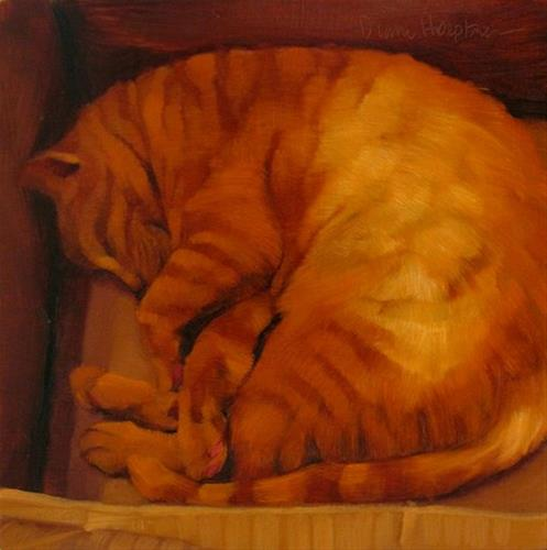 """Sleeps in Box"" original fine art by Diane Hoeptner"