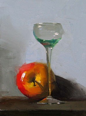 """Apple and Glass --- Sold"" original fine art by Qiang Huang"