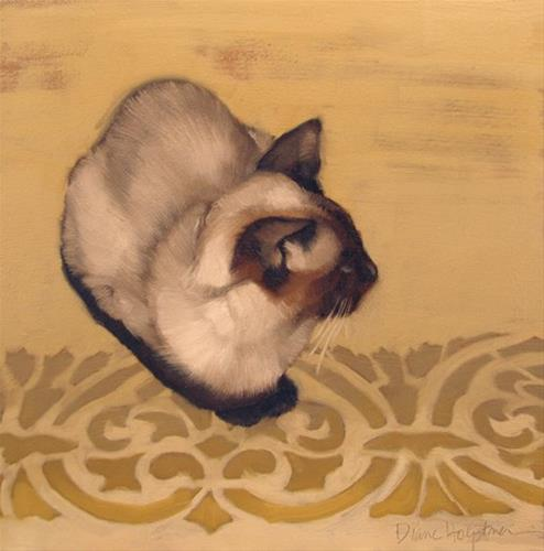 """Gadjo the Siamese cat sitting on pretty pattern"" original fine art by Diane Hoeptner"