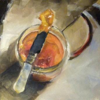 """Oil Painting of Peach Jam"" original fine art by Deb Anderson"
