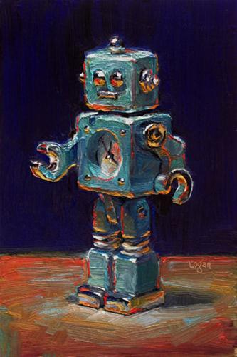 """Tokibot Toy Robot Clock Thingy"" original fine art by Raymond Logan"