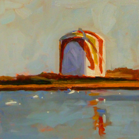 """8x8 oil on cradled board. This iconic Gas Tank in Boston and is a local landmark. It's famously painted"" original fine art by Mary Sheehan Winn"