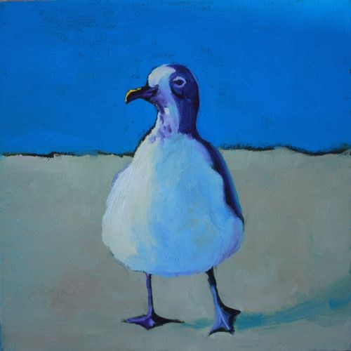 """Keep Calm & Live at the Beach Contemporary Animal Paintings by Arizona Artist Amy Whitehouse"" original fine art by Amy Whitehouse"
