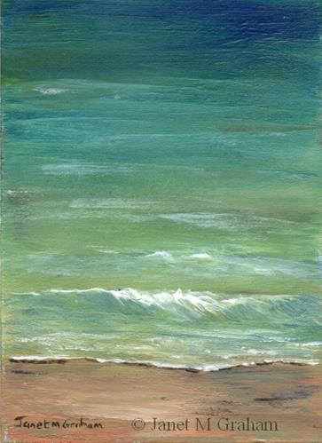 """Seascape 5 ACEO"" original fine art by Janet Graham"