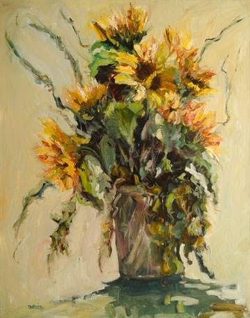 """SUNFLOWER FLORAL art Garden Oil Painting Diane Whitehead Fine art"" original fine art by Diane Whitehead"
