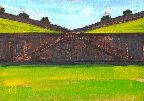 """Moat at Montjuic"" original fine art by Kevin Inman"