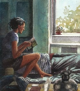 """Watercolor: Reading Light"" original fine art by Belinda Del Pesco"